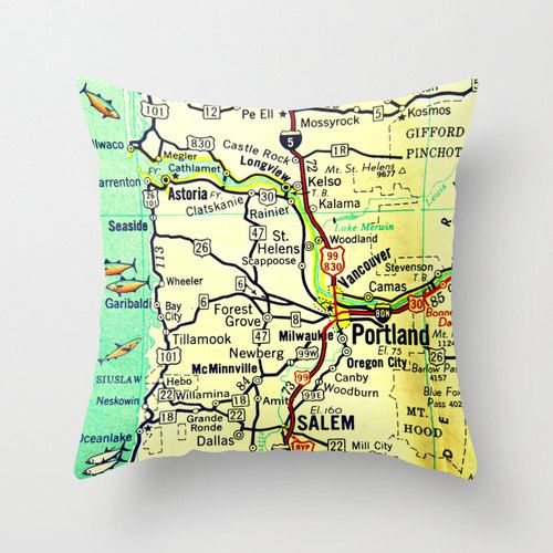 Mill City Oregon Map.Portland Map Pillow Oregon Decorative Throw Pillow Cover Retro