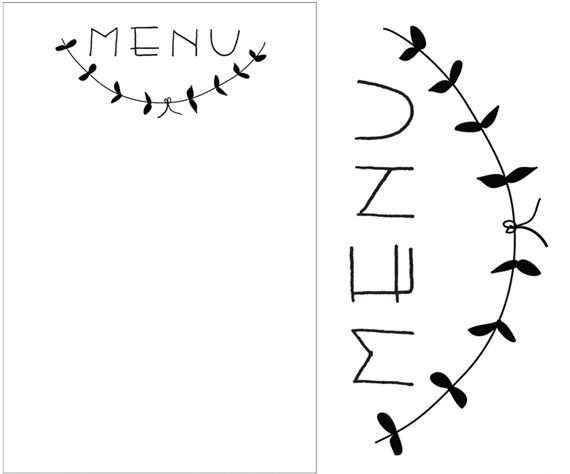 printable menu header; print onto brown type paper and put on each - free thank you card template for word