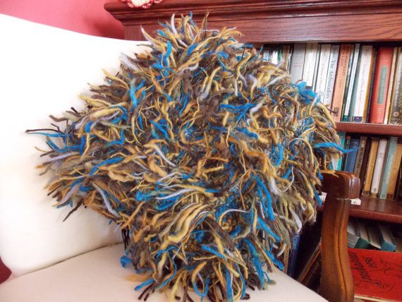 Fuzzy Shag Pillow in Handspun Blue Yellow and by bellisantetmoi, $49.99