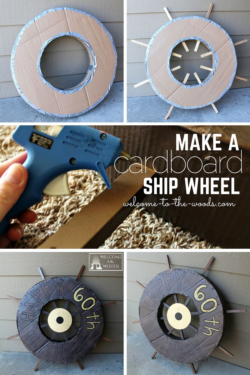 12310aec373 How to construct a cardboard ship wheel out of cardboard. Included a  detailed step by step picture tutorial. I love this idea for a pirate  themed birthday ...