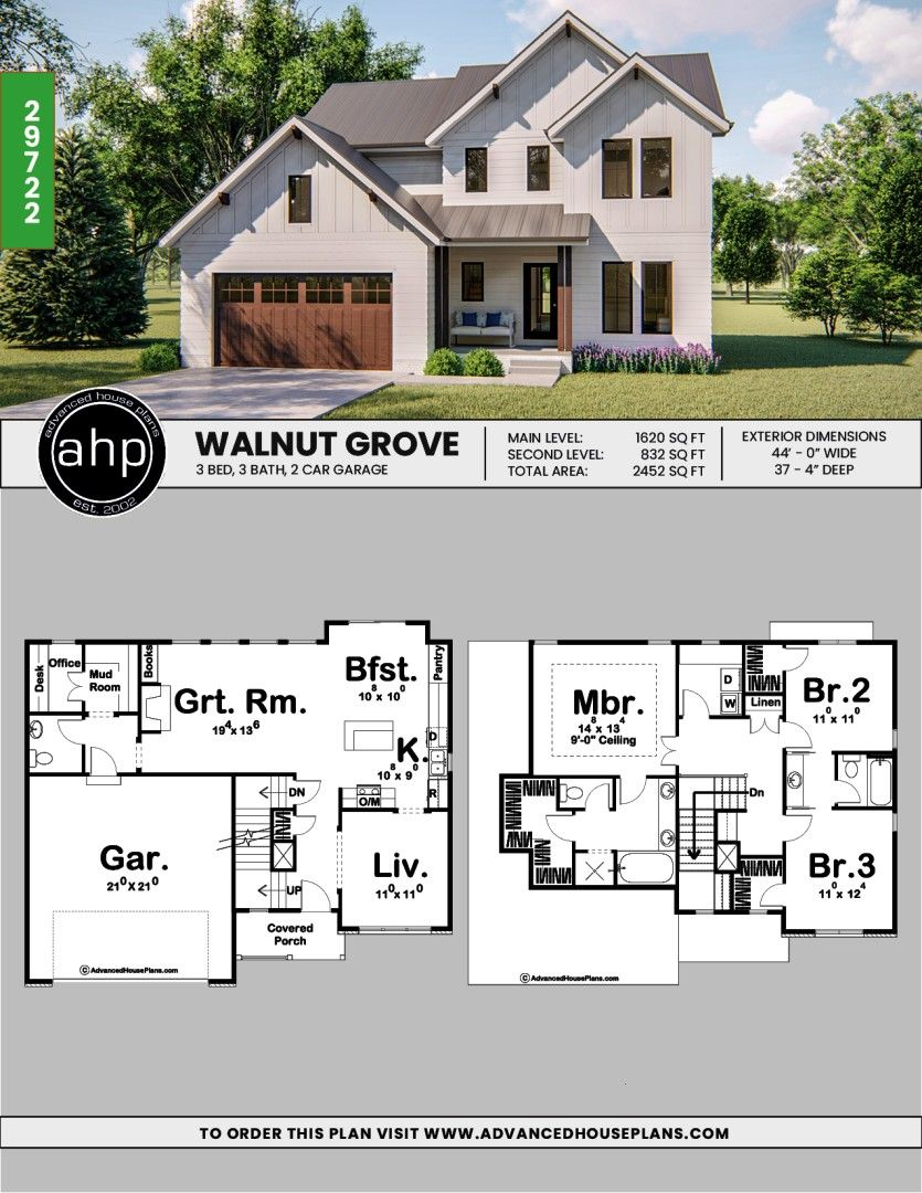 #architecturaldesigner #modernfarmhouse #smallfarmhouse #farmhouseplans #newhomedesign #homesweethome #builderplans #designbuild #dreamhouse #curbappeal #houseplans #floorplans #farmhouse #homegoals #dreamhome3 Bedroom Farmhouse w/ 2nd Level Laundry 2 Story Modern Farmhouse Plan | Walnut Grove 2 Story Modern Farmhouse Plan | Walnut Grove   Architectural Designs Modern Farmhouse Plan 69745AM gives you 3 bedrooms, 2.5 baths and 2,400+ sq. ft. Ready when you are! Where do YOU want to build? ...