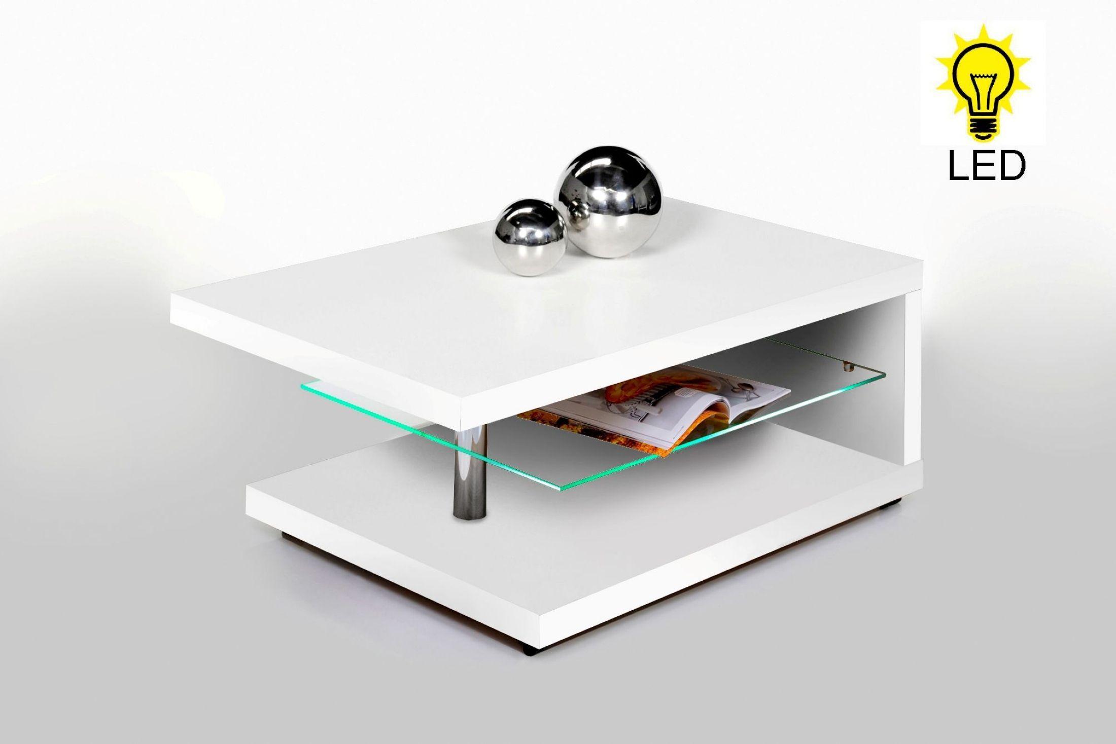 Couchtisch Beistelltisch Salontisch In Weiss Mit Led Beleuchtung