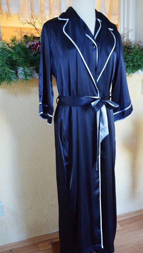 33144b0de5 Jones New York Satin Robe Pajama Set S Light Dark Blue Soft Comfortable  Pretty  JonesNewYork  RobePajamaSets