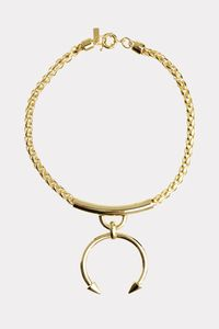 """<b>FINAL SALE: may not be exchanged or returned.</b><br><br>Make a style statement with this LUV AJ Barbell Ring Necklace, which features a metal curved Barbell Pendant in the center. Layerd over your basic little black dress or add to a basic white t-shirt and jeans ensemble. <br><br>* Necklace is 16"""" long with extender chain<br>* Barbell Charm is 2"""" tall and can slide along the chain<br>* Ponytail-style chain<br>* Plated 14k Gold<br>* Made from Brass"""