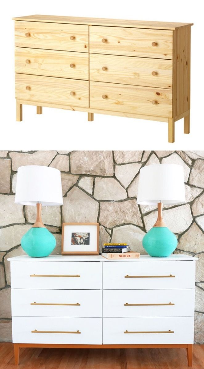 ikea tarva dresser refinished. Learn How To Turn An IKEA Tarva Dresser Into A Mid Century Modern Dresser. This Hack Is Easy And Gets You Nice MCM Ikea Refinished