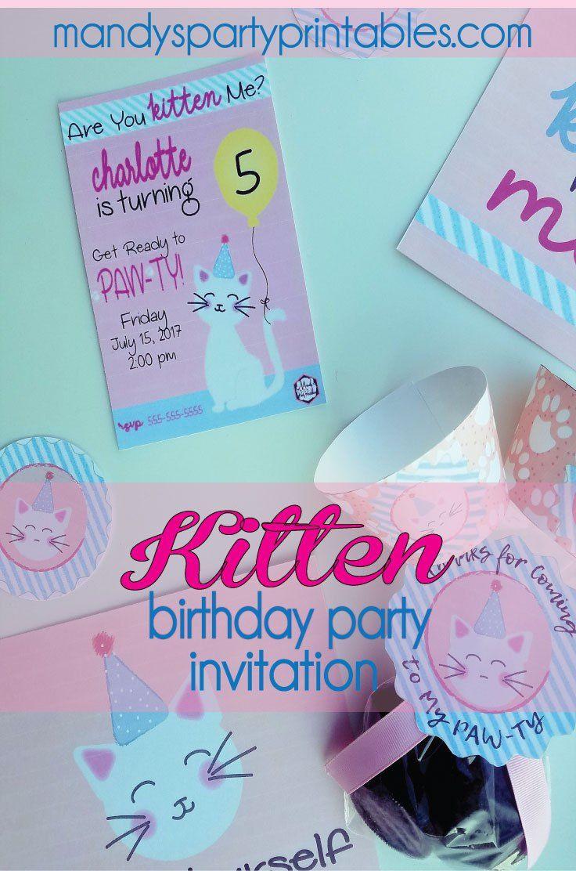 birthday party invitations printable%0A Free Kitten Birthday Party Printables