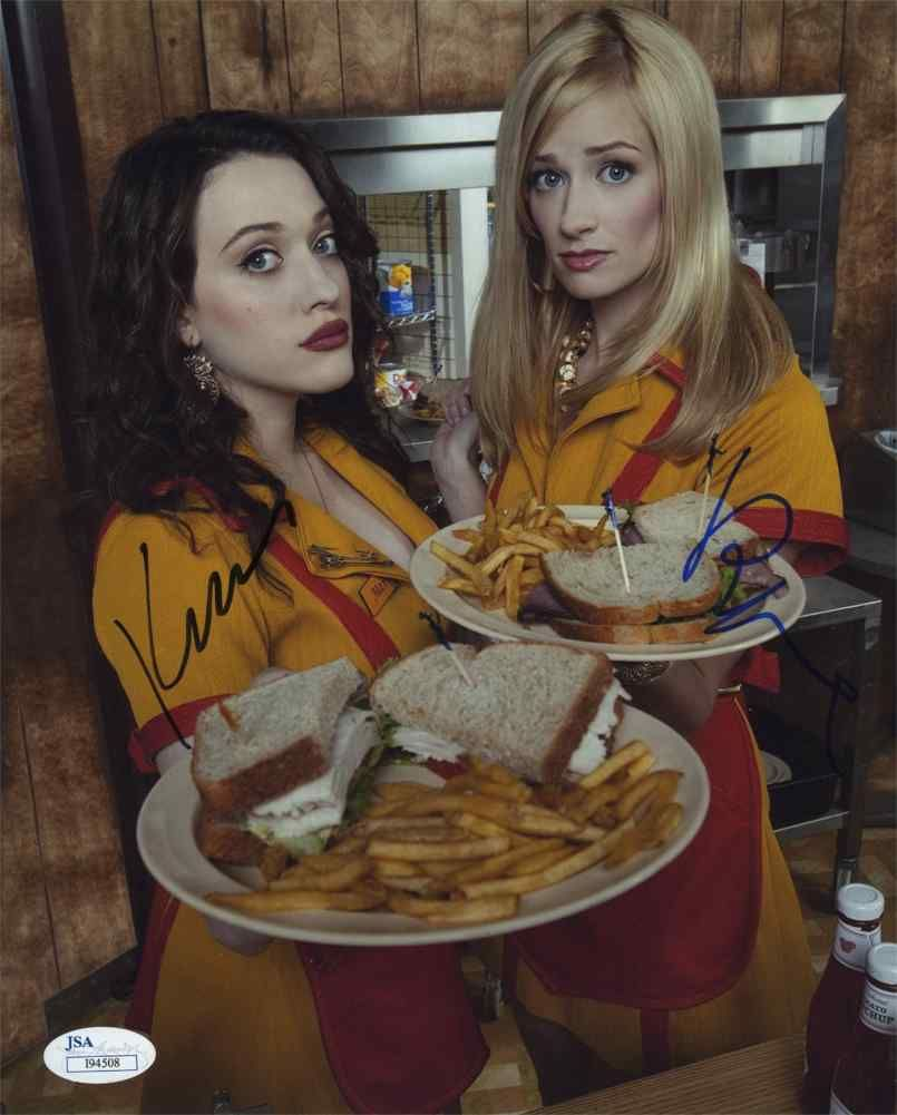 2 Broke Girls Cast Signed 8x10 Photo Certified Authentic JSA #2brokegirls