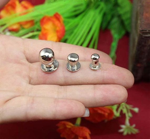 5 Sliver Metal Button Knobs White Nipple Nail Lamp Knob Pulls