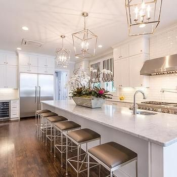 Extra Long Kitchen Island with Gray Barstools, Transitional, Kitchen