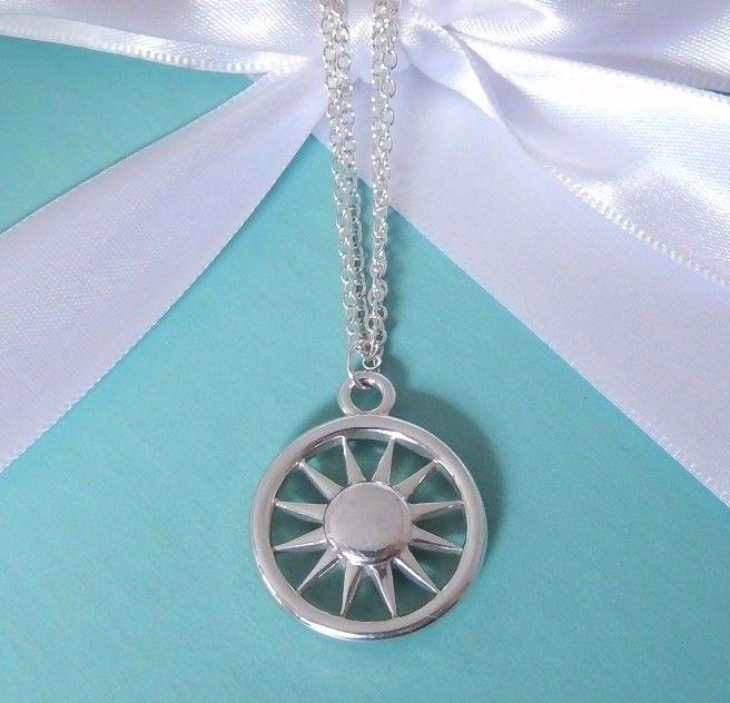 d612bc318 Tiffany & Co Silver Sun Sunburst Double Chain 16