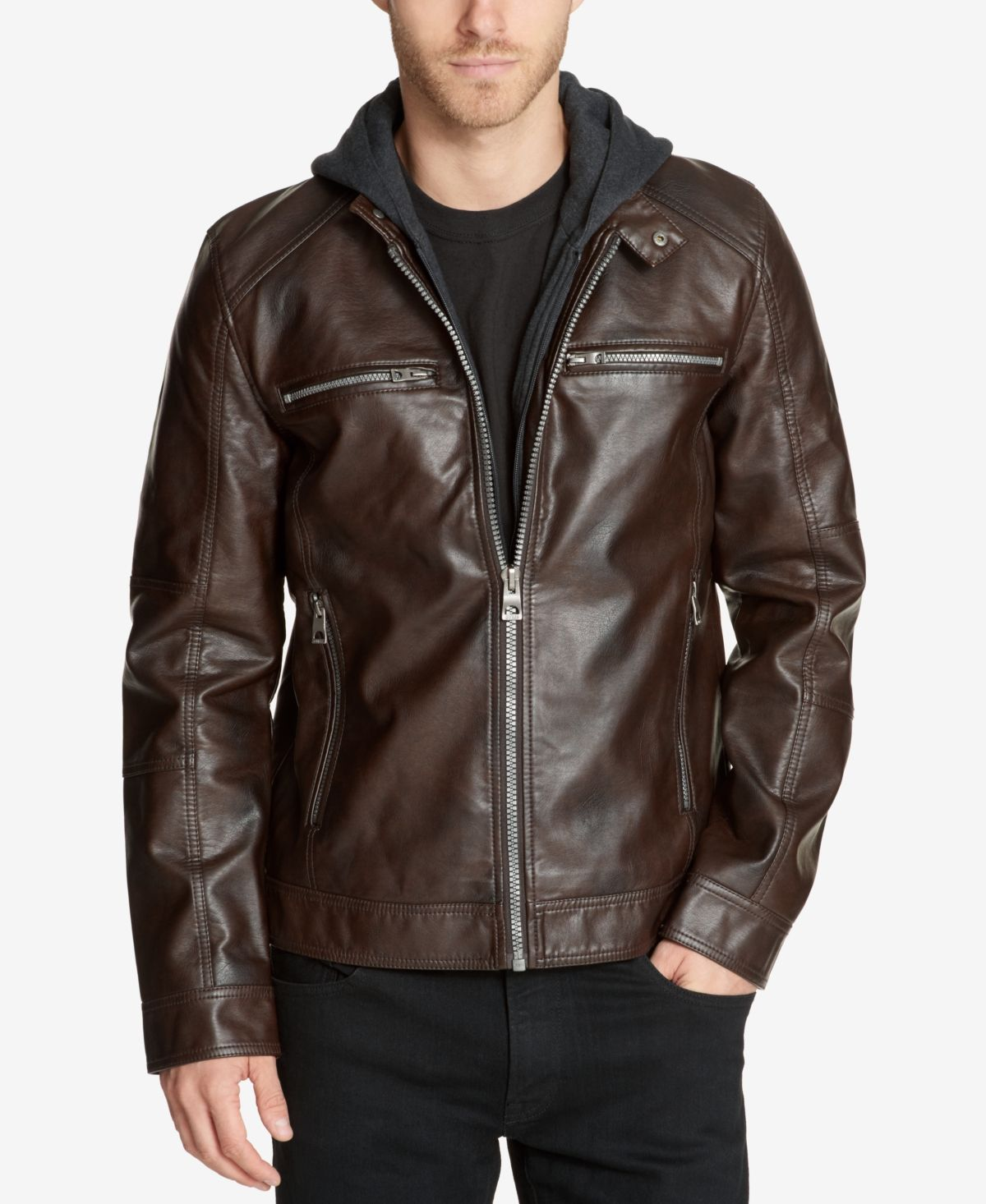 Guess Outerwear Dummy Page Oliver Guess Men Brown Leather Jacket Faux Leather Jackets [ 1466 x 1200 Pixel ]