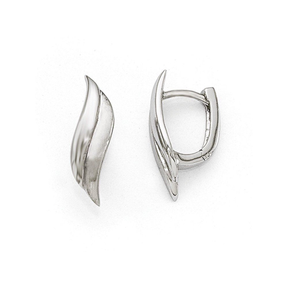 Small Satin and Polished Hinged Hoop Earrings in Sterling Silver. Tarnish resistant, rhodium plated sterling silver design. Satin and polished finish. Approximate size 6 x 20mm. Average weight is 2.1 grams. Includes our custom gift box.