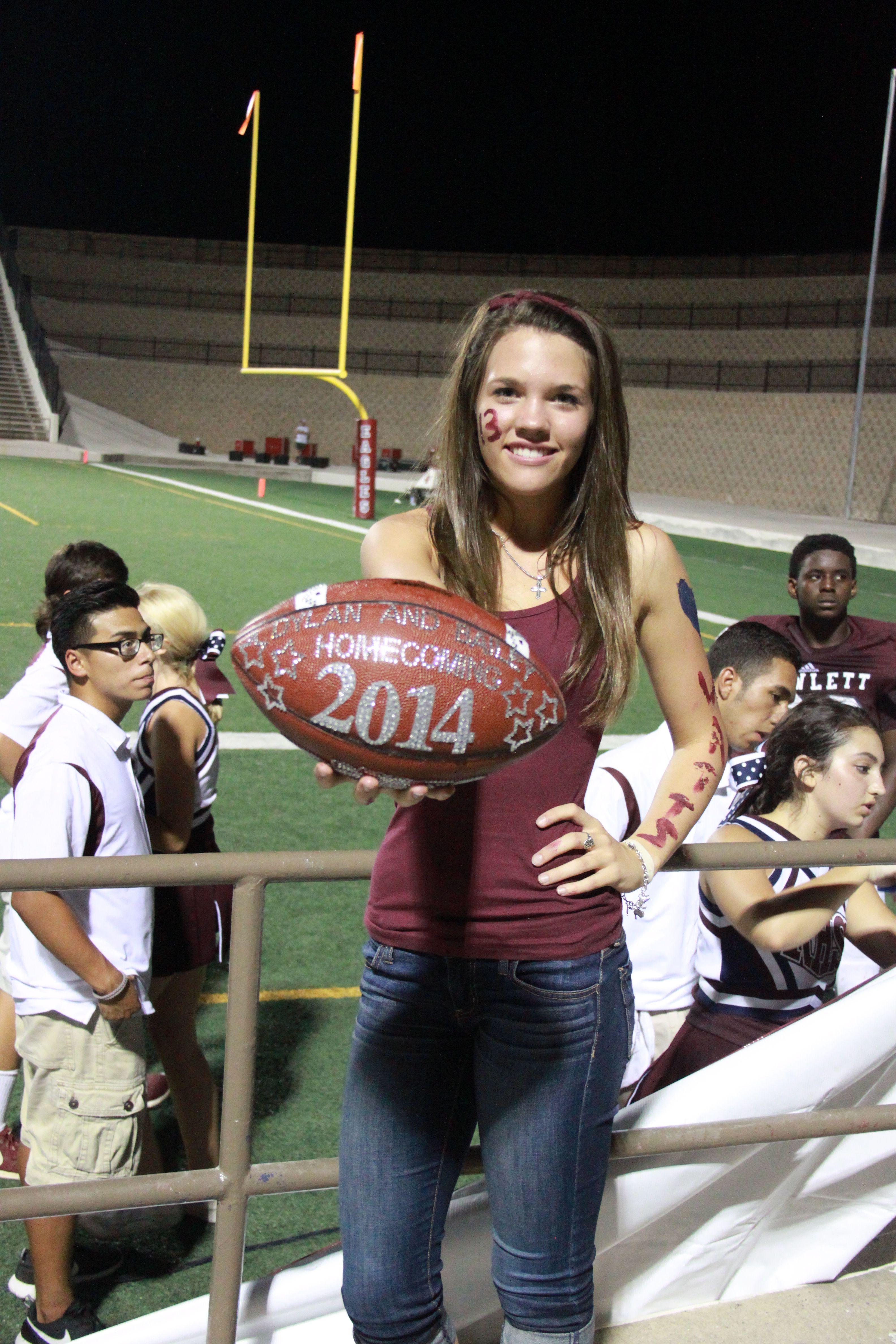 cute homecoming proposal at a texas high school football game