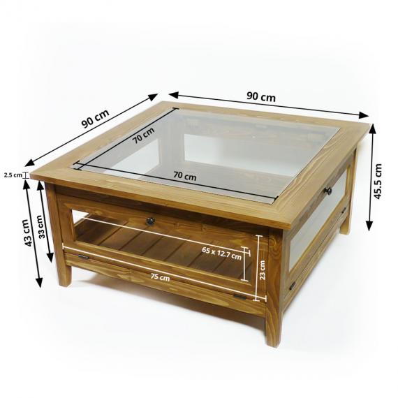 Table Basse Bois Massif In 2020 Shadow Box Coffee Table Display Coffee Table Wooden Coffee Table