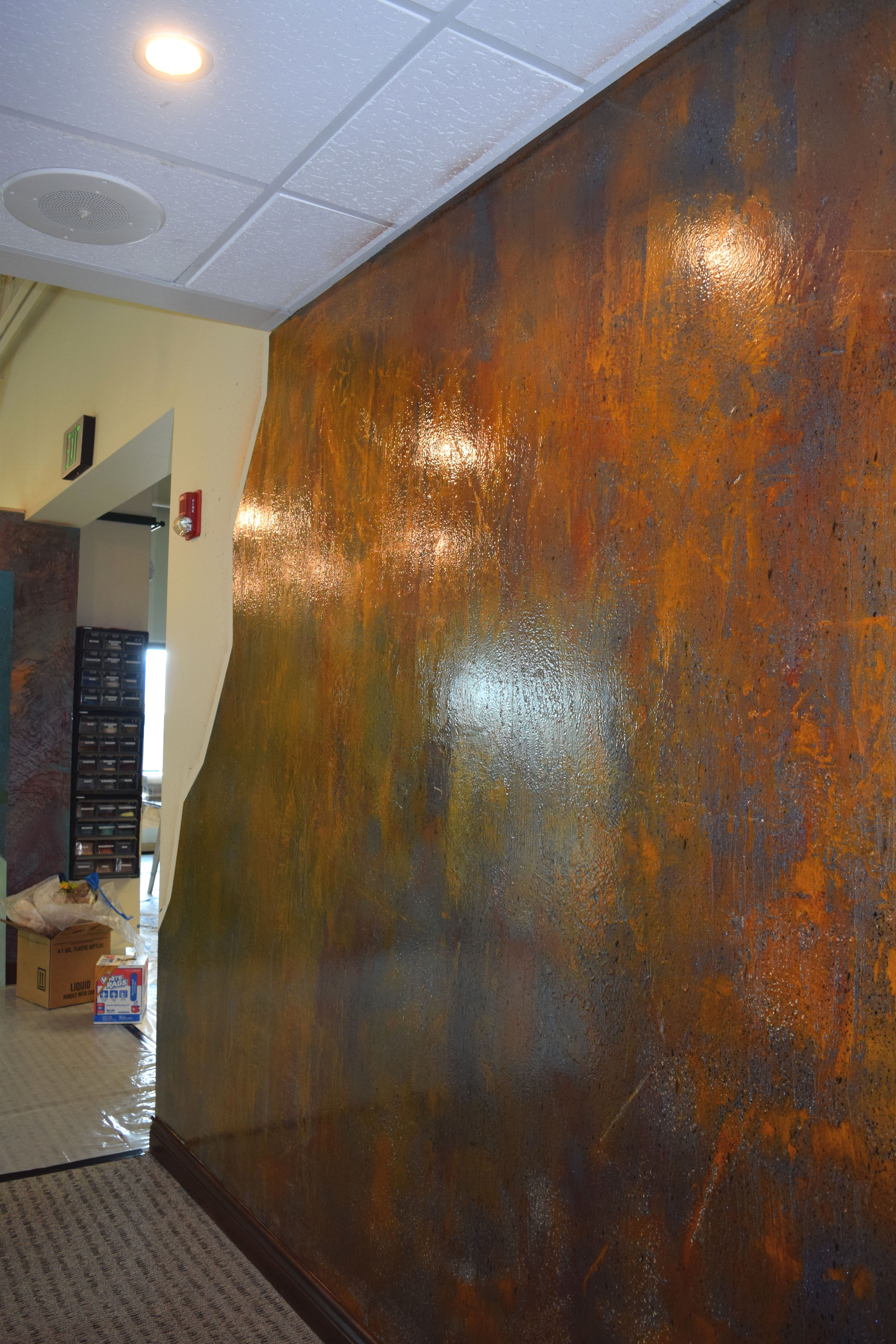 Charcoal Gold And Red Copper Fx Metallic Wall Coating Wall Systems Refinish Countertops Copper Wall