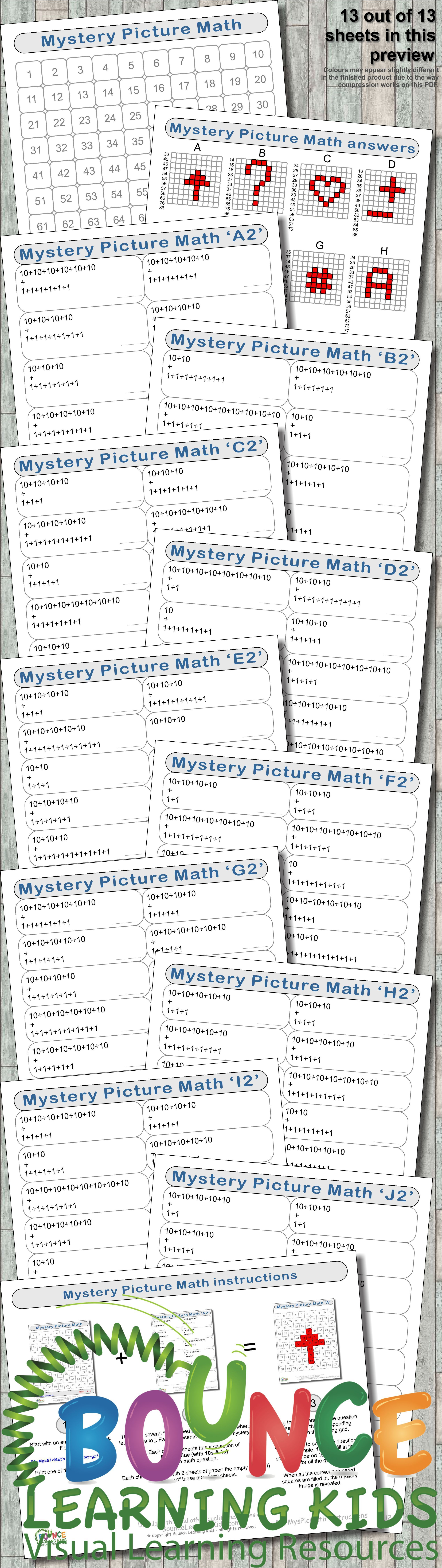 Mystery Picture Math Distance Learning Worksheets For