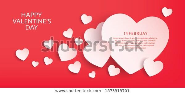 Happy Valentines Day Banner Design Vector เวกเตอร สต อก ปลอดค าล ขส ทธ 1873313701 ภาพประกอบ