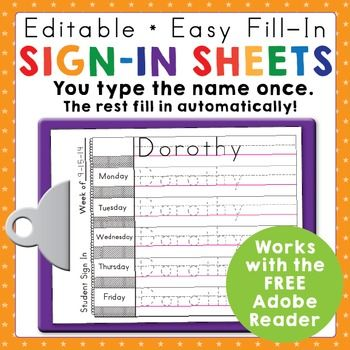 Preschool and Kindergarten Name Writing Practice Sign In Sheets - attendance sign in sheet