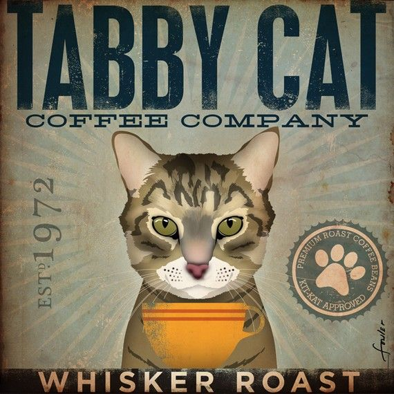 Tabby Cat Coffee Company Graphic Artwork On Gallery Wrapped Etsy Cat Coffee Tabby Cat Cats