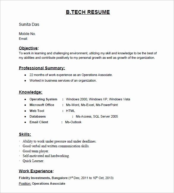 25 Resume Format For Freshers In 2020