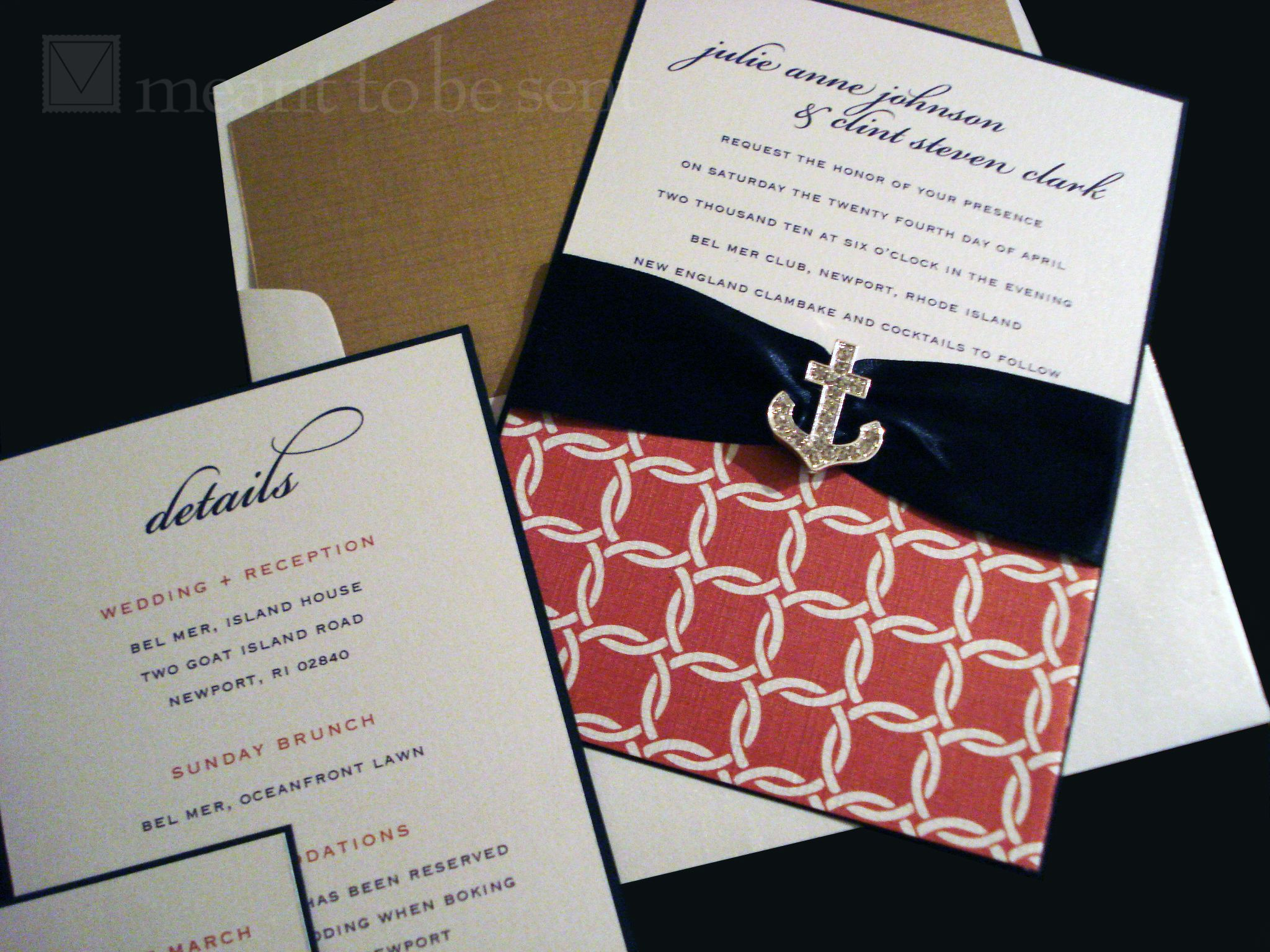 Navy Blue and Nantucket Red Wedding Invitations (I kind of like the ...