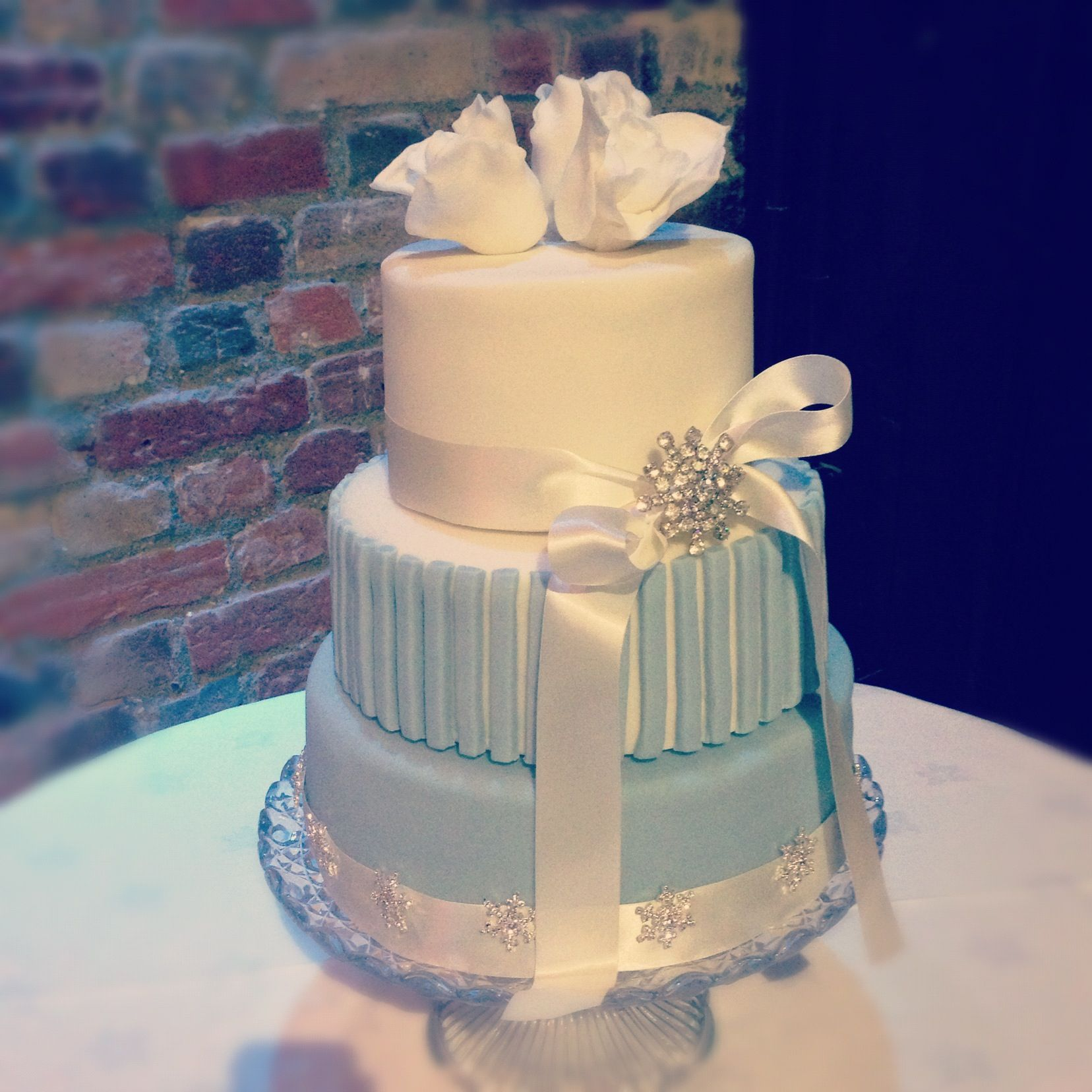 Wedding Cake. Snowflake Winter Wonderland Theme Sweet 16