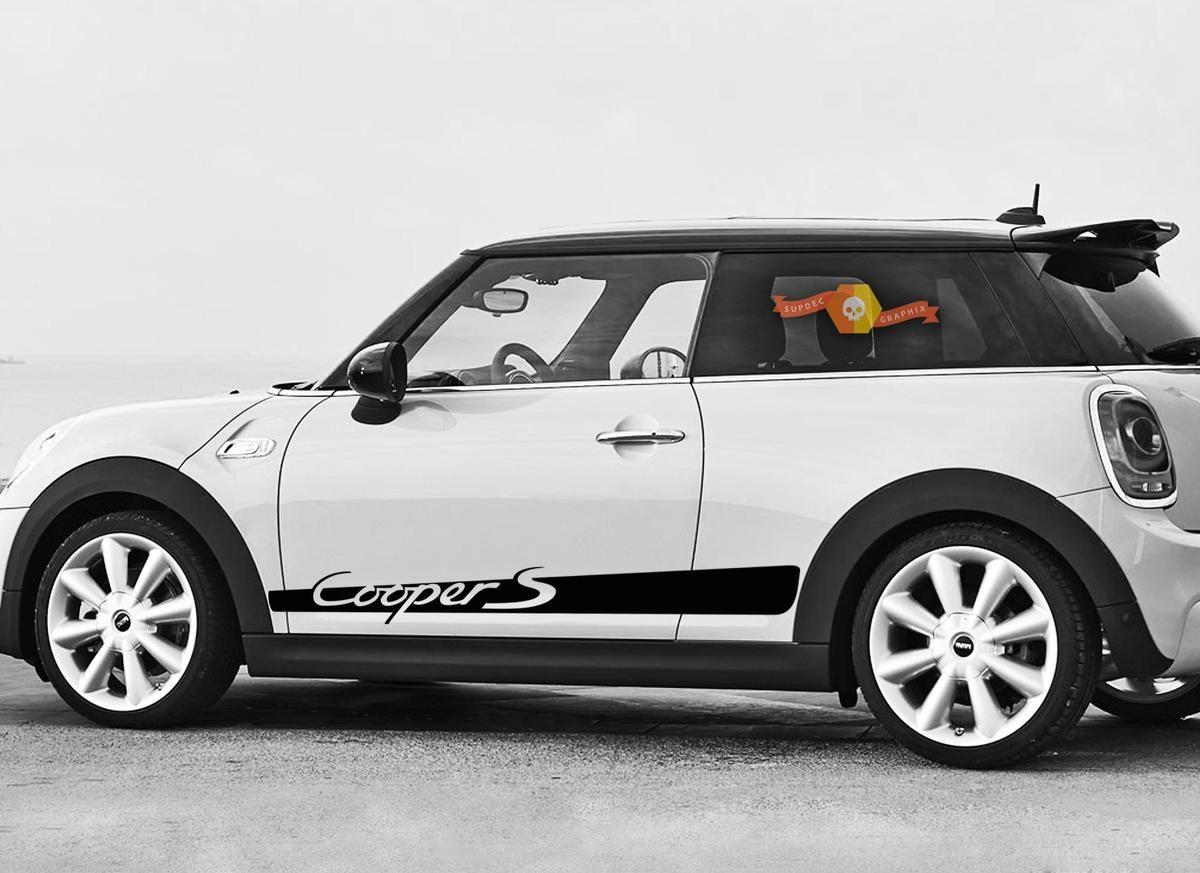 Mini Cooper S F56 2014 2018 Side Stripe Lettering Porsche Style Graphics Decal Checkered Flag Decal Mini Cooper Mini Cooper Custom