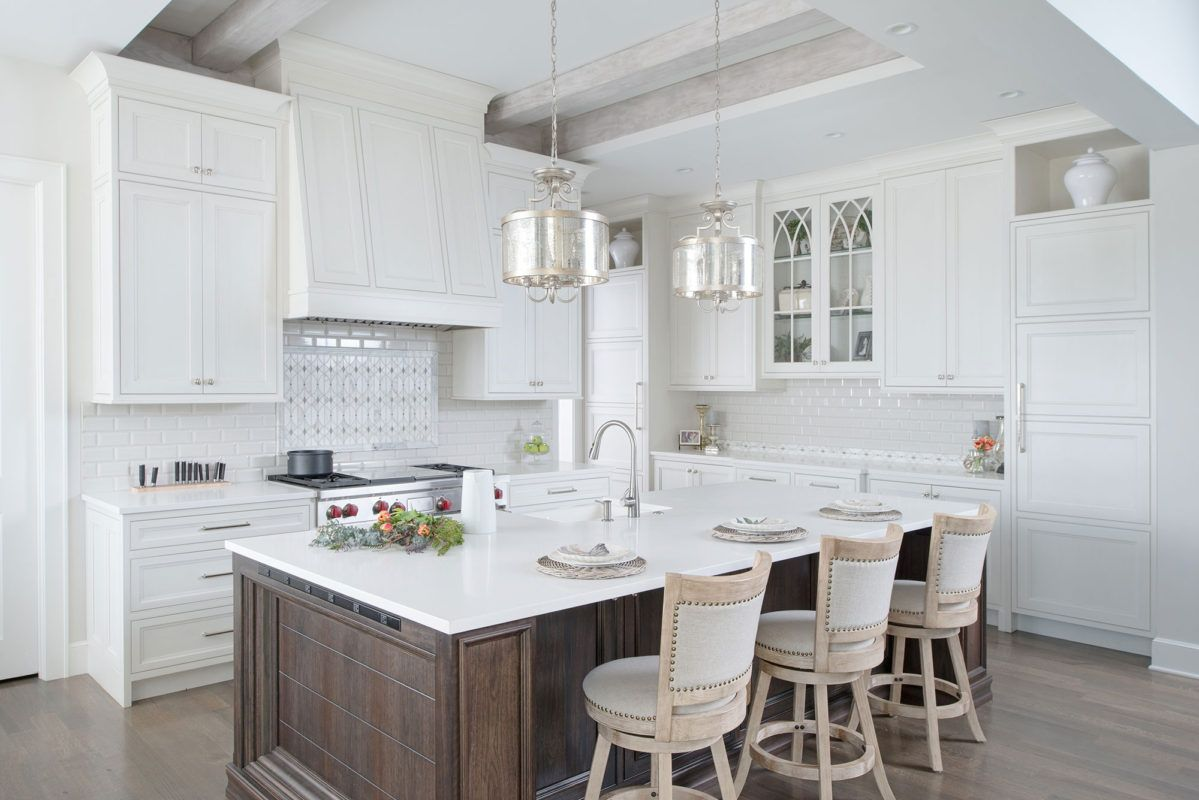 Painted White Kitchen With Dark Wood Island Crystal Cabinets Dark Wood Kitchen Cabinets Wood Kitchen Wood Kitchen Cabinets