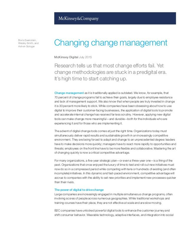 Changing Change Management/McKinsey  Company Report Leadership - training report