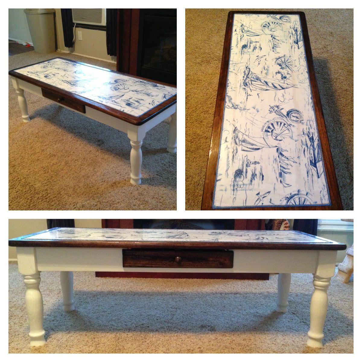 Beautiful Decoupage Coffee Table Nautical Fabric Pirate Theme Refurbished Furniture