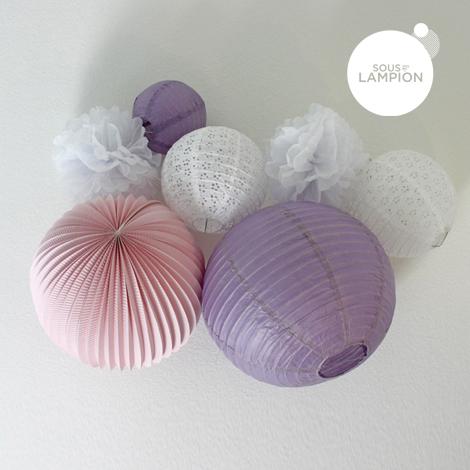 Kit de lampions dans les tons de rose, mauve et blanc | Chambre ...