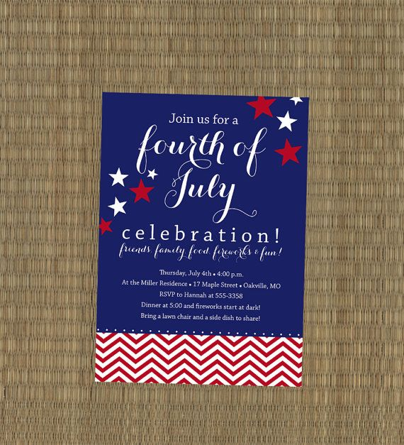 printable 4th of july party invitation red white blue