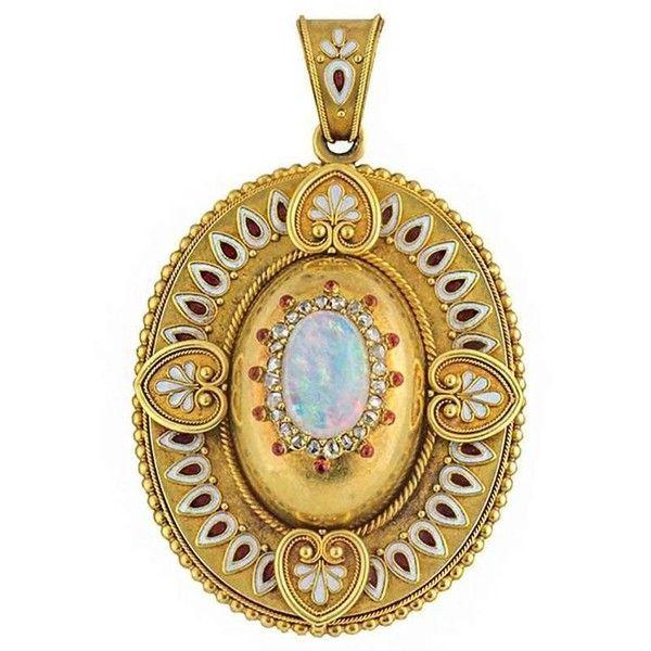 Preowned 1880s antique enamel opal diamond locket pendant 4277 preowned 1880s antique enamel opal diamond locket pendant 4277 liked on polyvore featuring aloadofball Choice Image