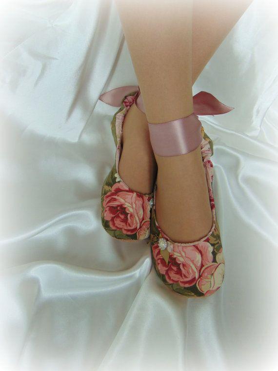 Romantic Rose Ballet Slippers, Bridal Flats, Wedding Flats, Wedding Dance Shoes, Bridal Ballet Flats