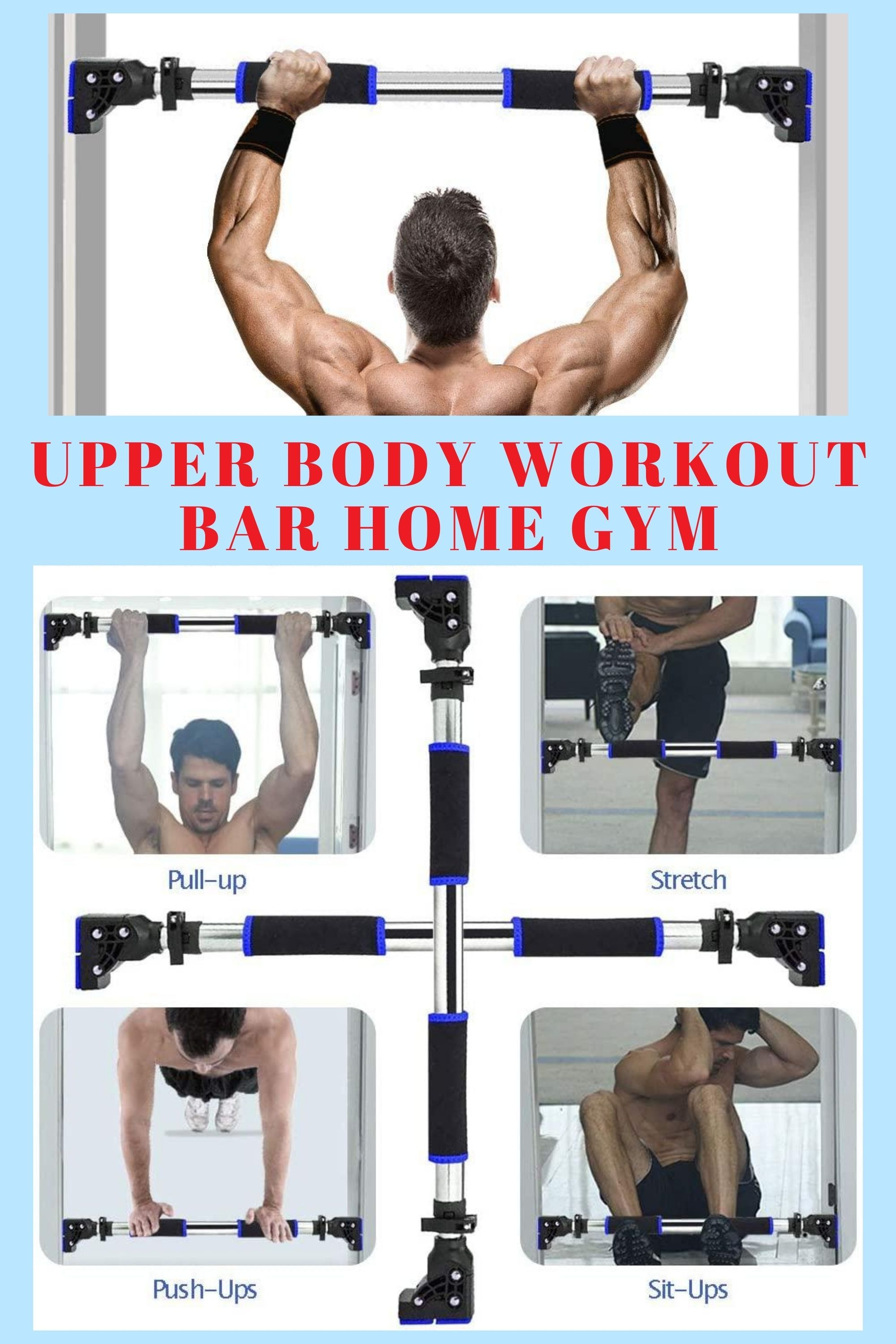 Chin Pull Up Bar Exercise Heavy Duty Doorway Fitness Upper Body Workout Home Gym