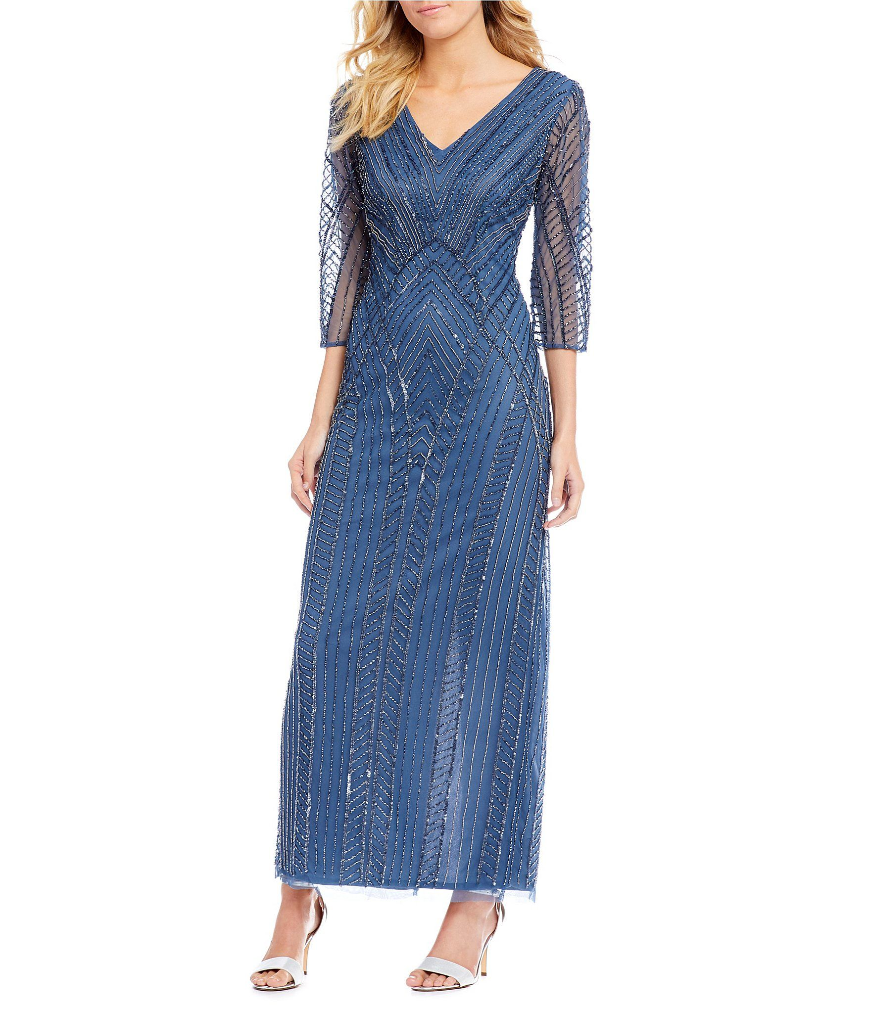 Pisarro Nights V Neck Beaded Gown | Dillards, Gowns and Beads