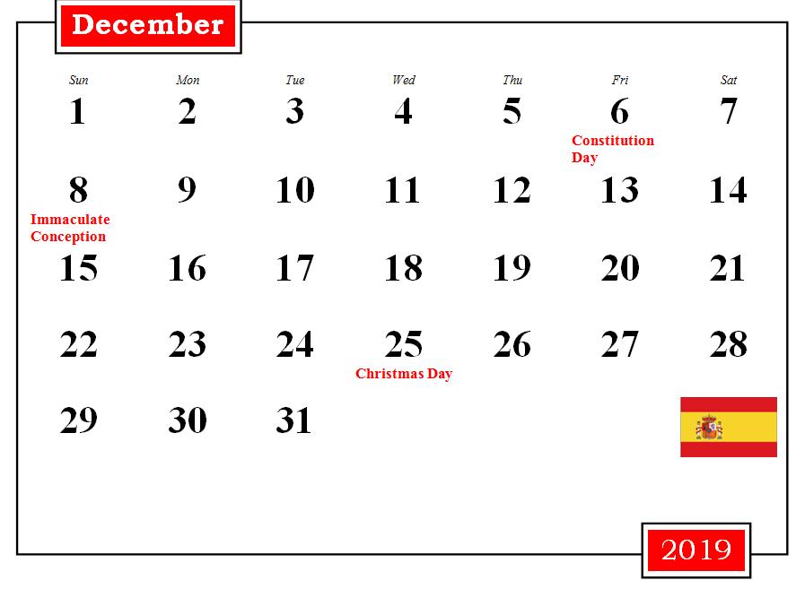 December 2019 Calendar With Holidays Usa Uk Canada India