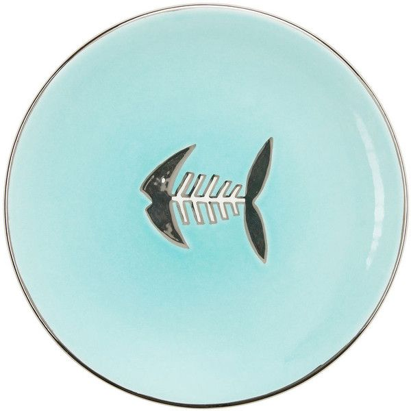 Gracious Home Fish Bone Aqua Salad ($45) ❤ liked on Polyvore featuring home and kitchen & dining