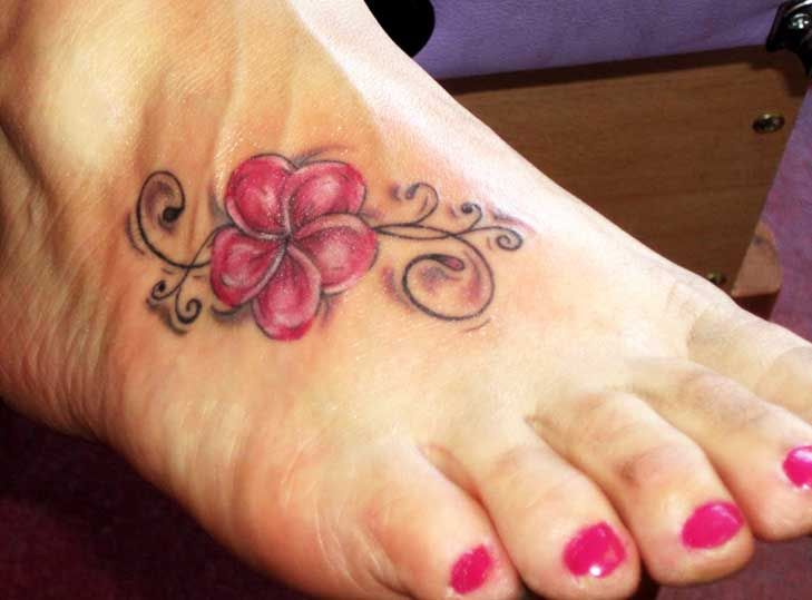 Hawaiian Flower Tattoos On Foot Tattos And Scooter With Images