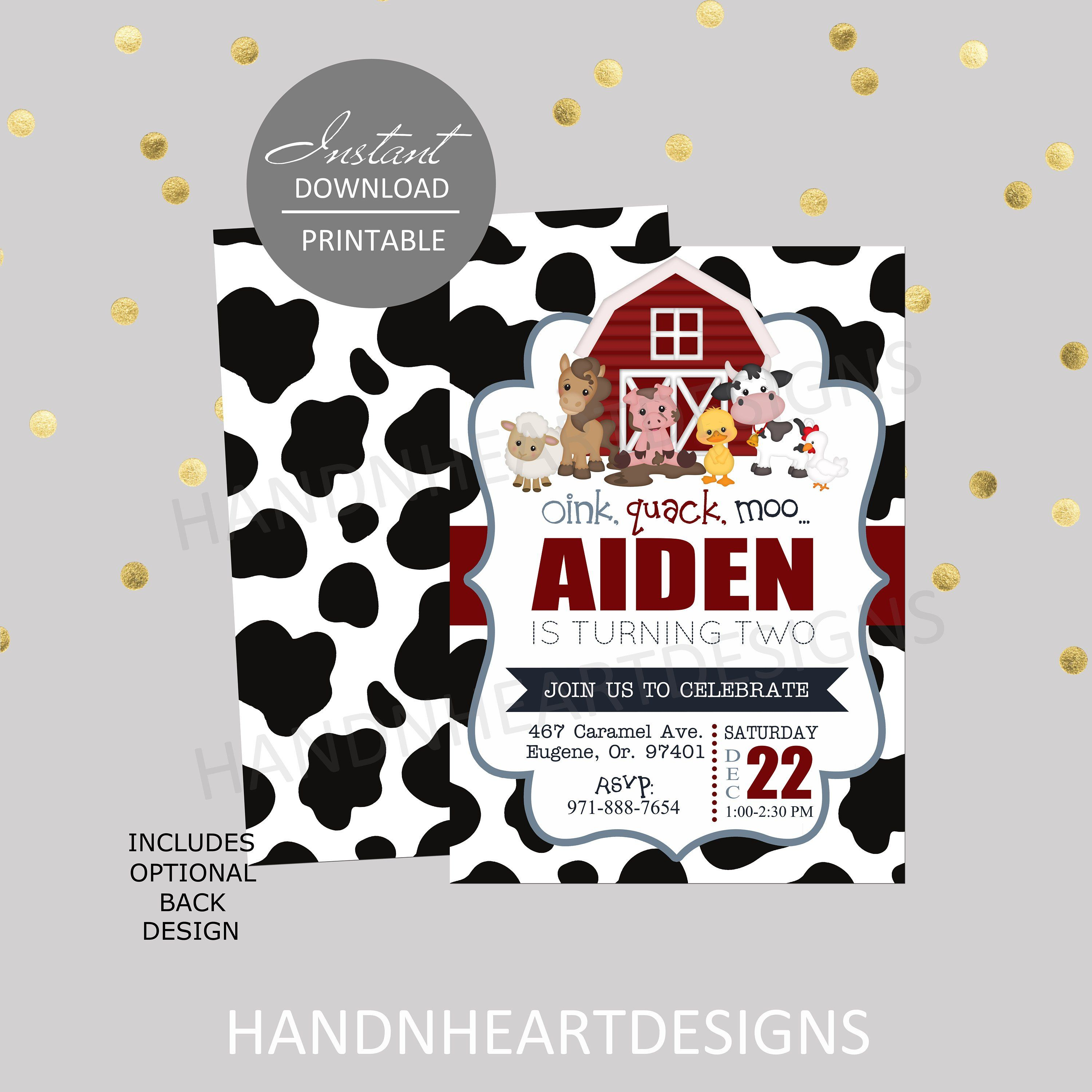 Printable Barnyard Birthday Invitationfarm Themed Party Instant Download5x7 Or 4x6 Red And Blue Polka Dots By Handnheartdesigns2 On Etsy