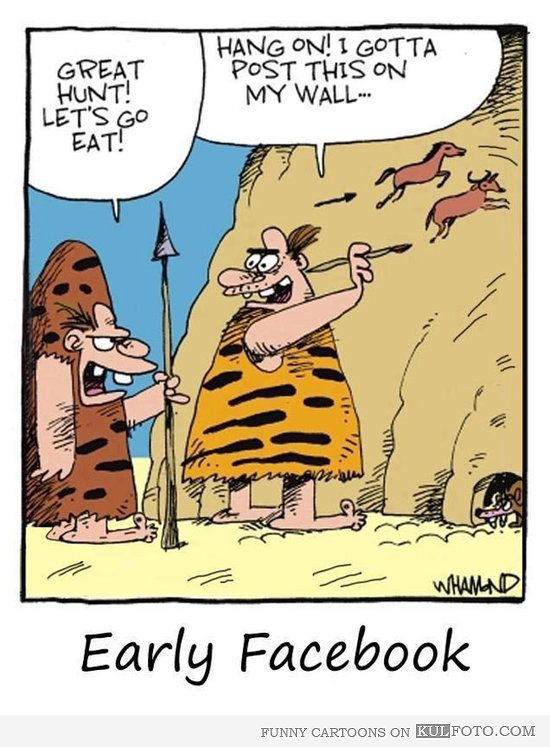 Early Facebook Funny Cartoon With A Cave Man Painting Horses On A