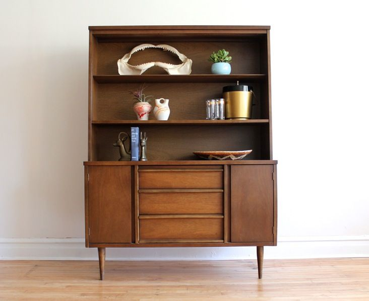 MCM Dining Hutch Made By Bassett Removable Sliding Glass Two Cabinets And Three Drawers