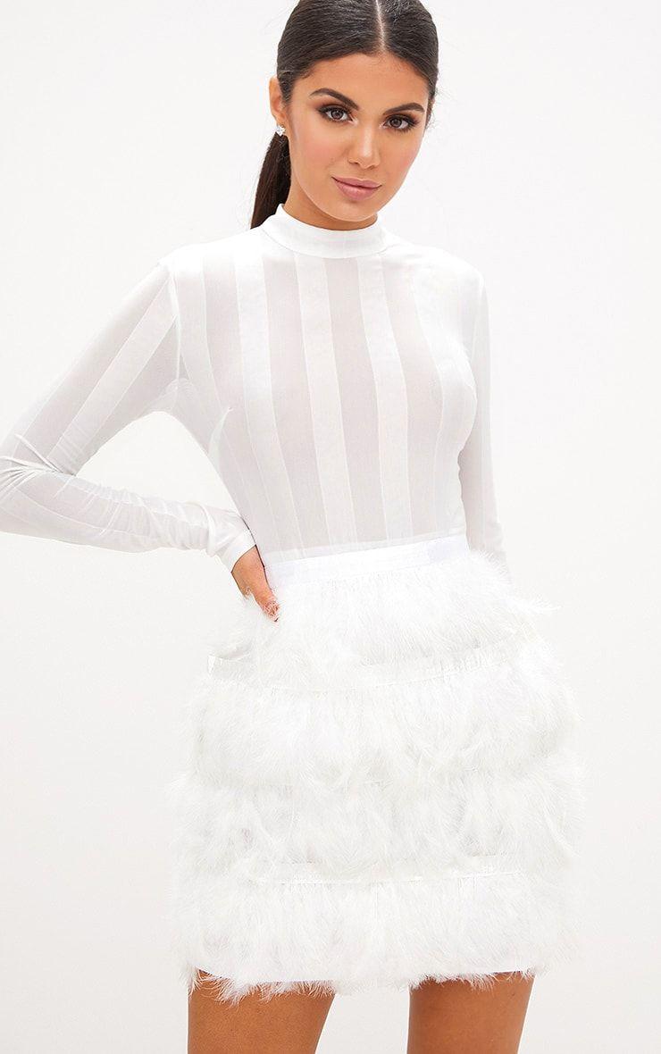 Fawn White Feather Skirt Bodycon Dress White Feather Skirt All White Party Outfits White Party Outfit