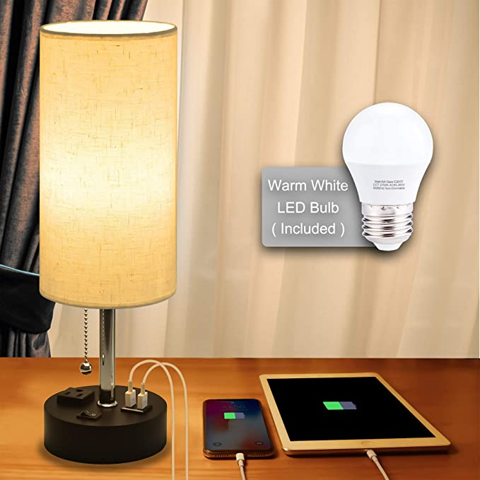 Usb Bedside Lamp Cotanic Modern Table Lamp With Charging Ports Nightstand Lamps For Bedrooms Cylindrical Min Modern Table Lamp Floor Lamp Bedroom Table Lamp