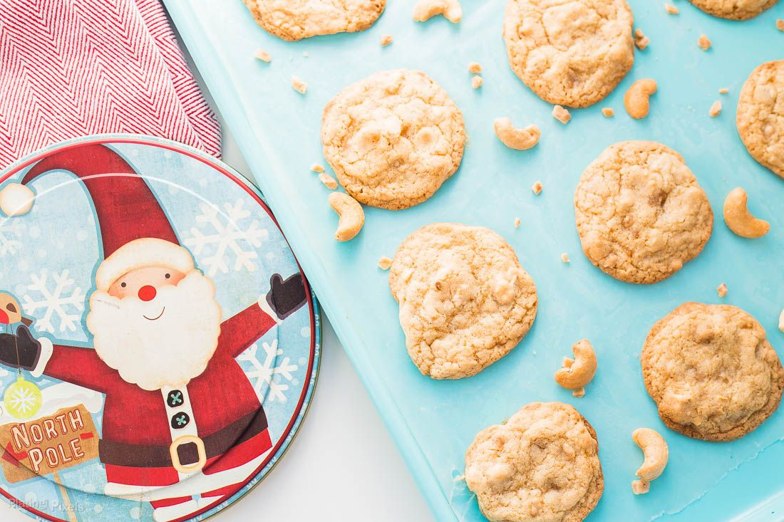 Chewy Cashew Toffee Cookies are an easy Christmas or holiday cookie. Crisp, moist and chewy toffee cookies with roasted cashews and toffee bits baked in.