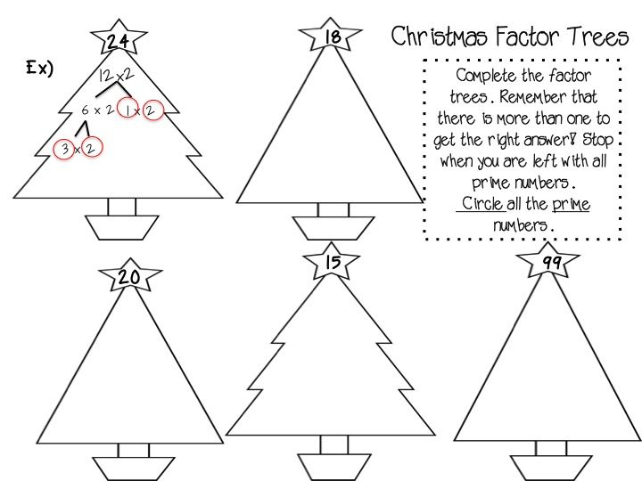 Christmas Factor Trees and other Activities Tis the season for – Factor Tree Worksheet