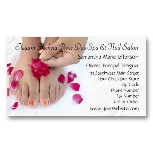 Pretty Fuchsia Pink Rose Pedicure Salon Business Card Zazzle Com Salon Business Cards Nail Salon Business Cards Pedicure Salon