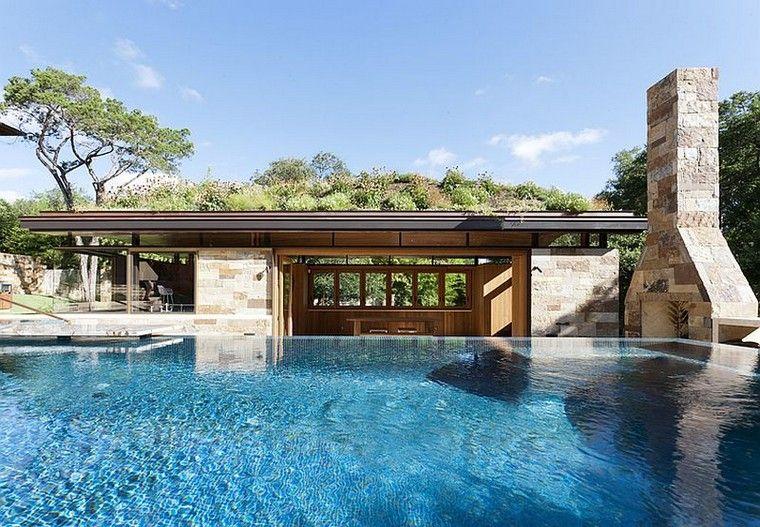 Une maison moderne avec piscine et toiture végétale  le naturel est