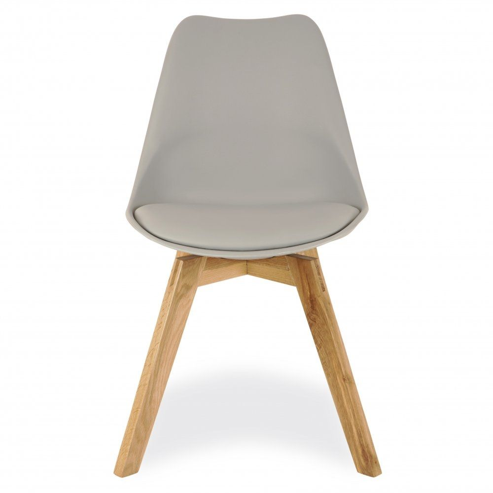 Charles Eames Style Grey Dining Chairs With Solid Oak Crossed Wood Leg Base Chaises