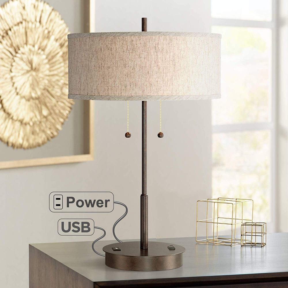 Nikola Modern Accent Table Lamp With Hotel Style Usb And Ac Power Outlet In Base Silver White Drum Shade For Liv Metal Table Lamps Modern Table Lamp Table Lamp